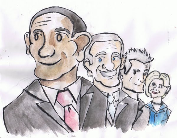 Cartoony Obama painting