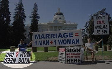 Upside-down sign at an anti-gay-marriage rally